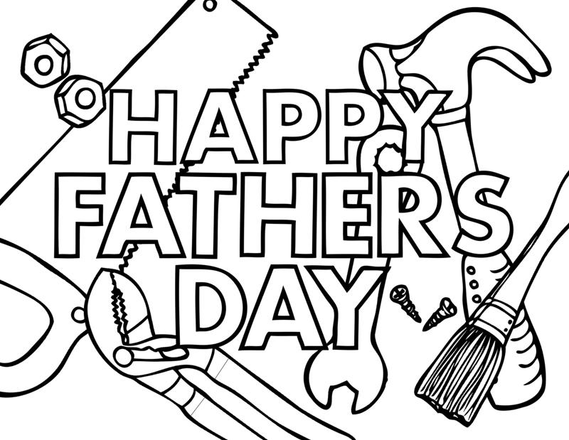 Happy Fathers Day Tools Coloring Page
