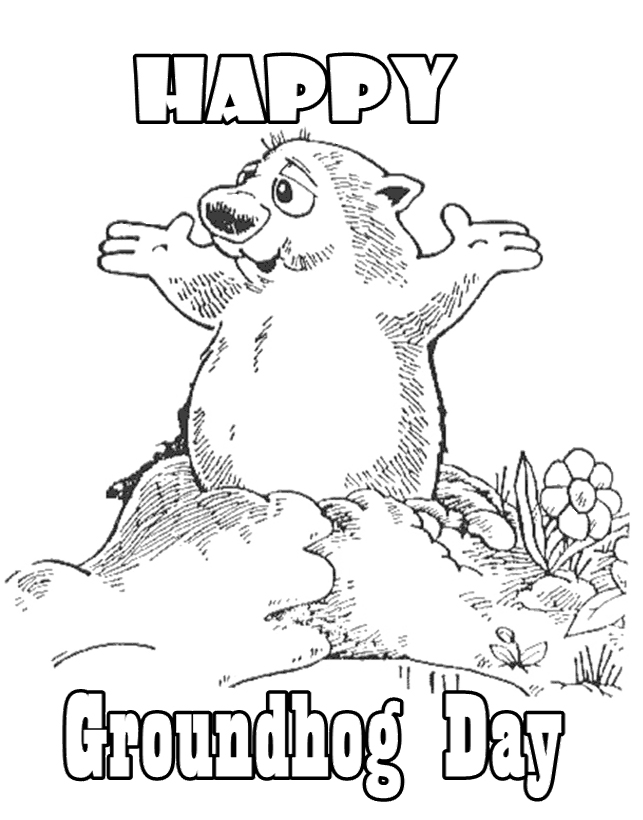 Happy Groundhog Day Coloring Page