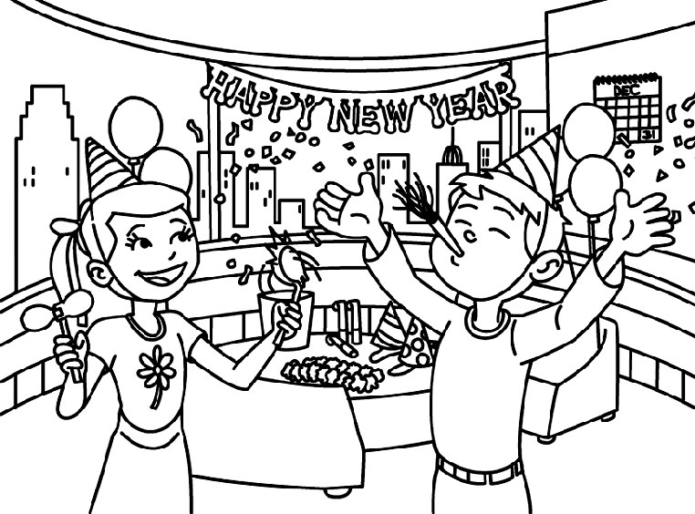 Happy New Year - January Coloring Page