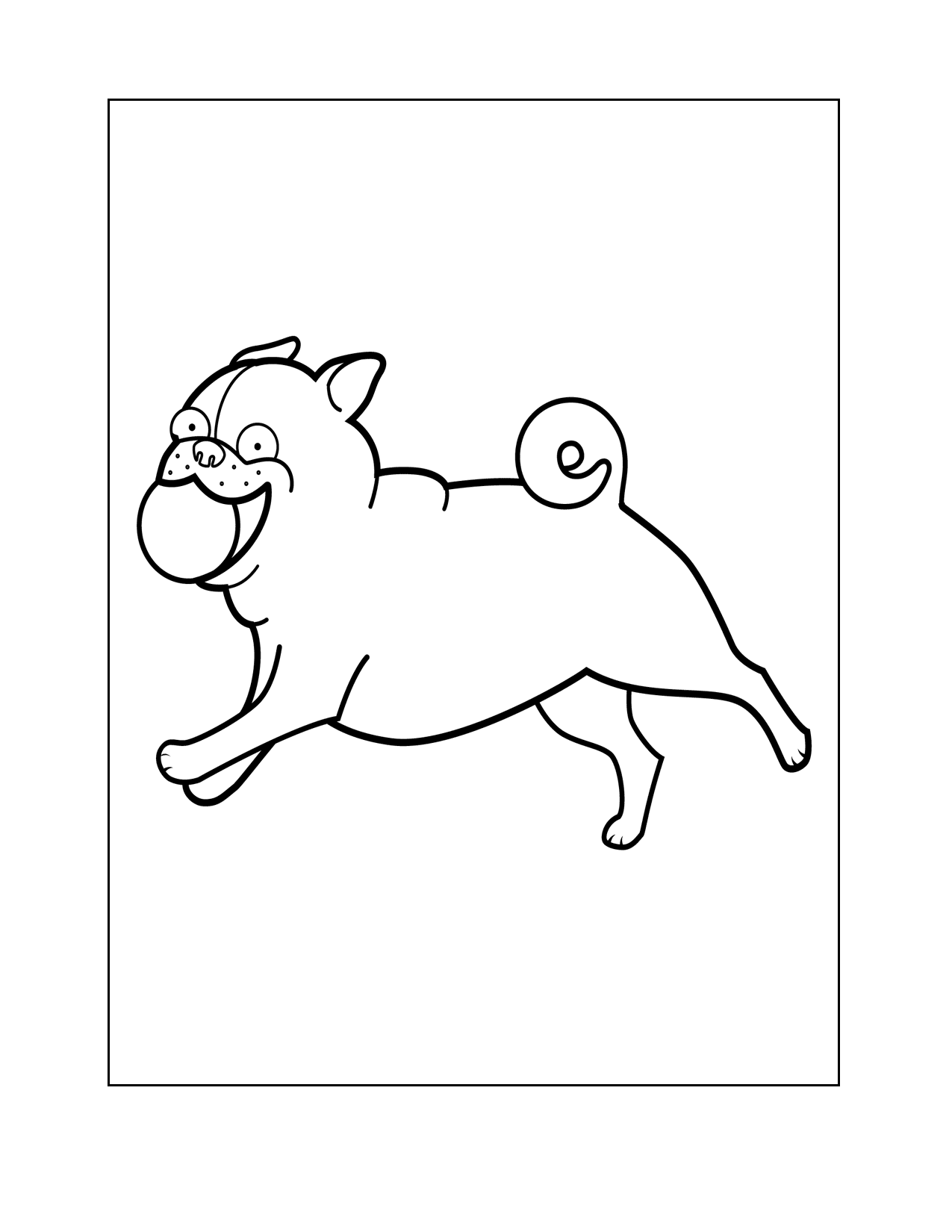 Happy Pug With A Ball Coloring Page
