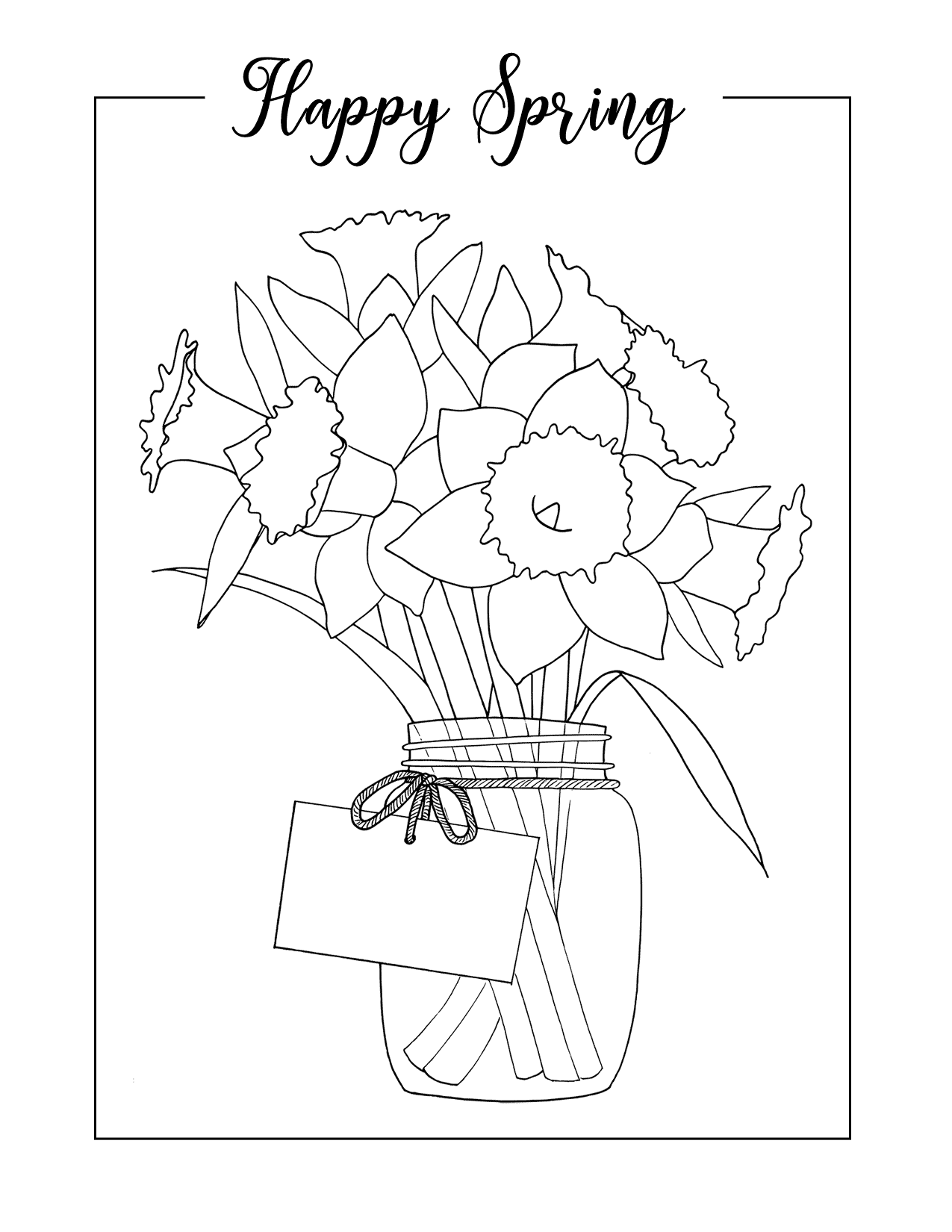Happy Spring Daffodils Coloring Page
