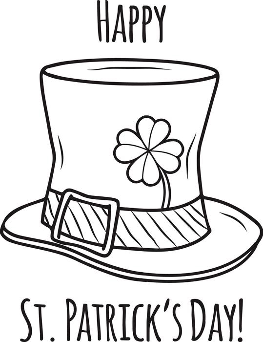 Happy St Patricks Day Coloring Page Hat