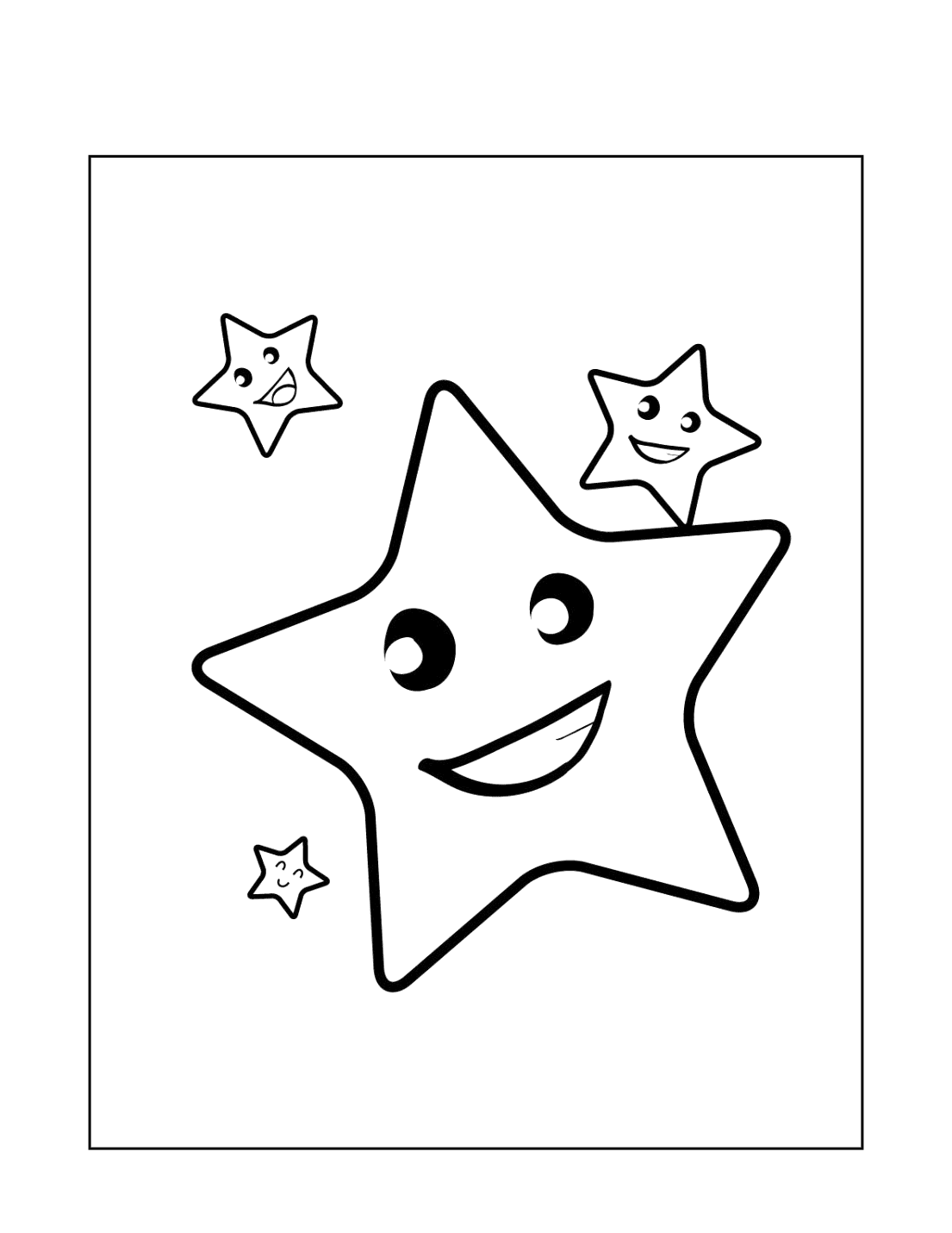 Happy Stars Coloring Page