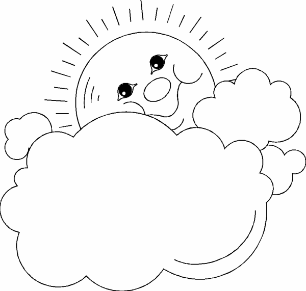Happy Sun and Clouds Coloring Page