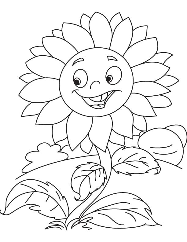 Happy Sunflower Coloring Page for Preschoolers