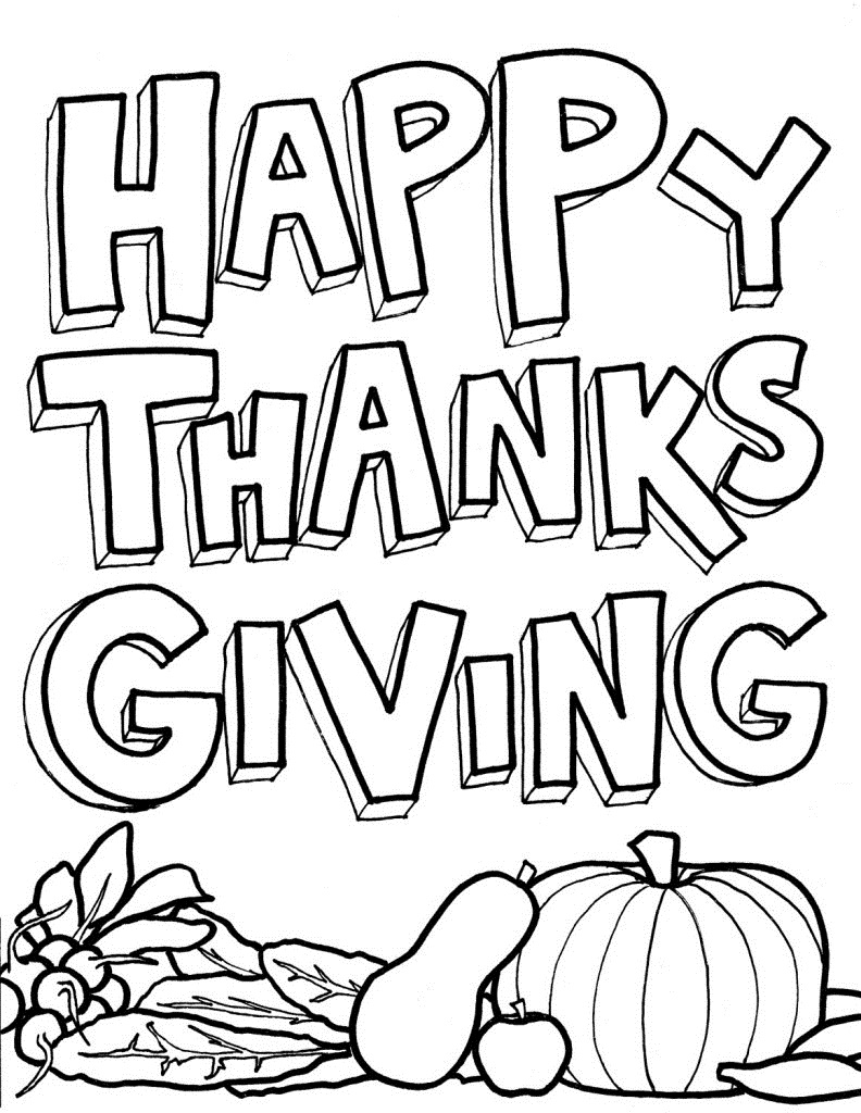 Happy Thanksgiving Coloring Page Printable