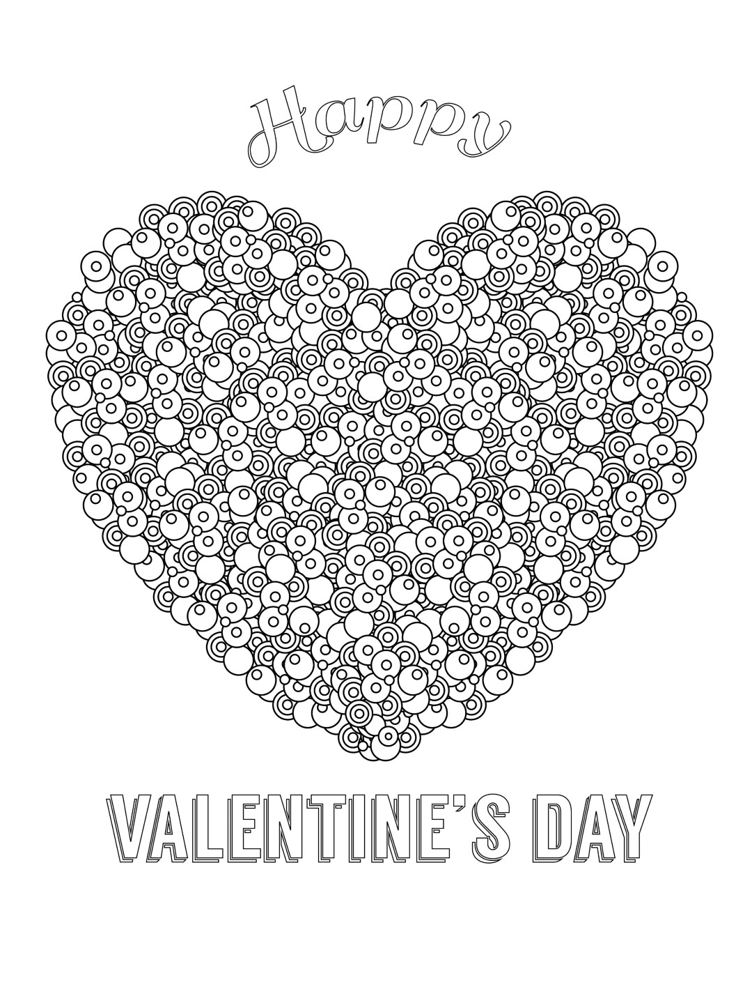 Happy Valentines Day Swirls for Adult Coloring