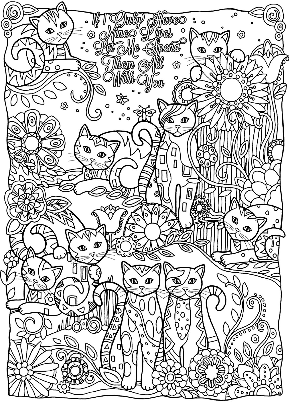 Hard Cat Saying Coloring Page for Adults