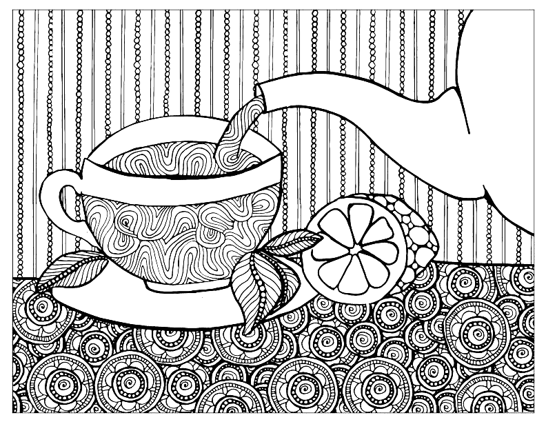 Hard Coffee Coloring Page for Adults
