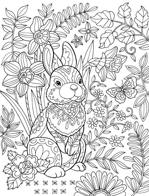 Hard Easter Bunny for Adult Coloring