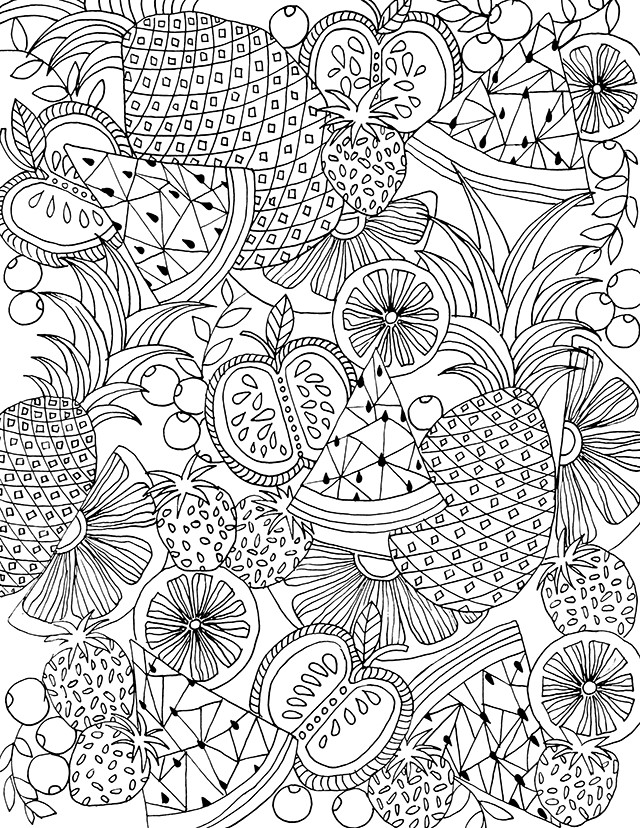 Hard Fruit Coloring Page for Adults
