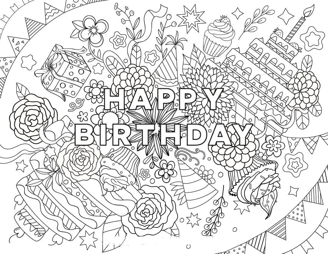 Hard Happy Birthday Coloring Pages