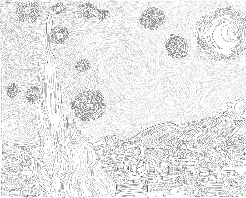 Hard Starry Night Van Gogh Coloring Page
