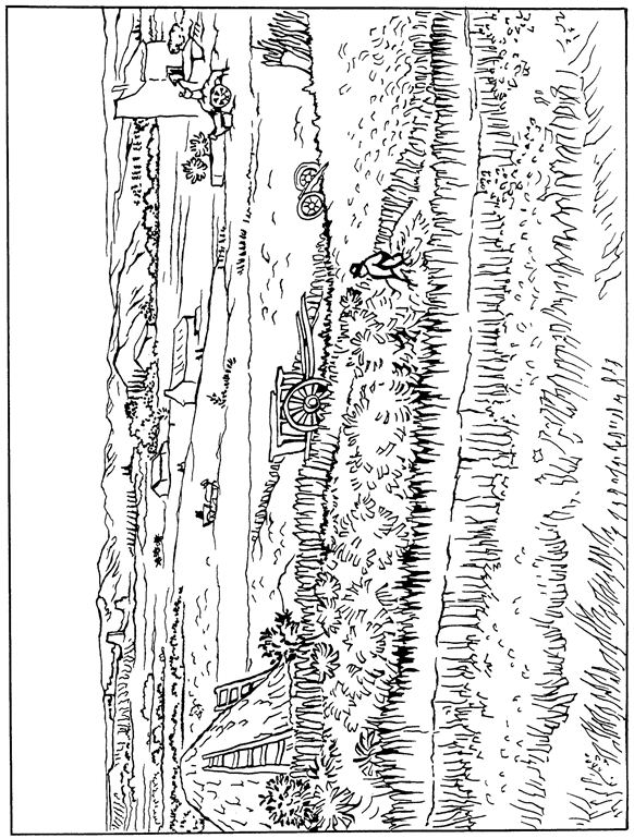 Harvest at La Crau Van Gogh Coloring Pages