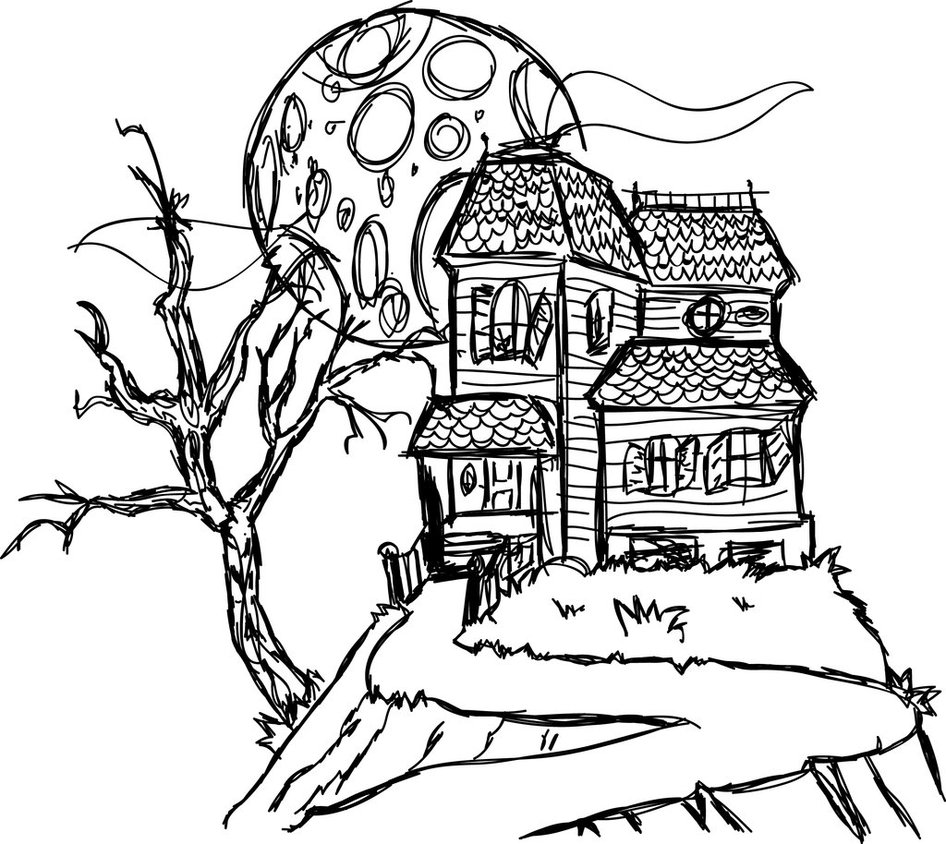 Haunted House Sketch to Color