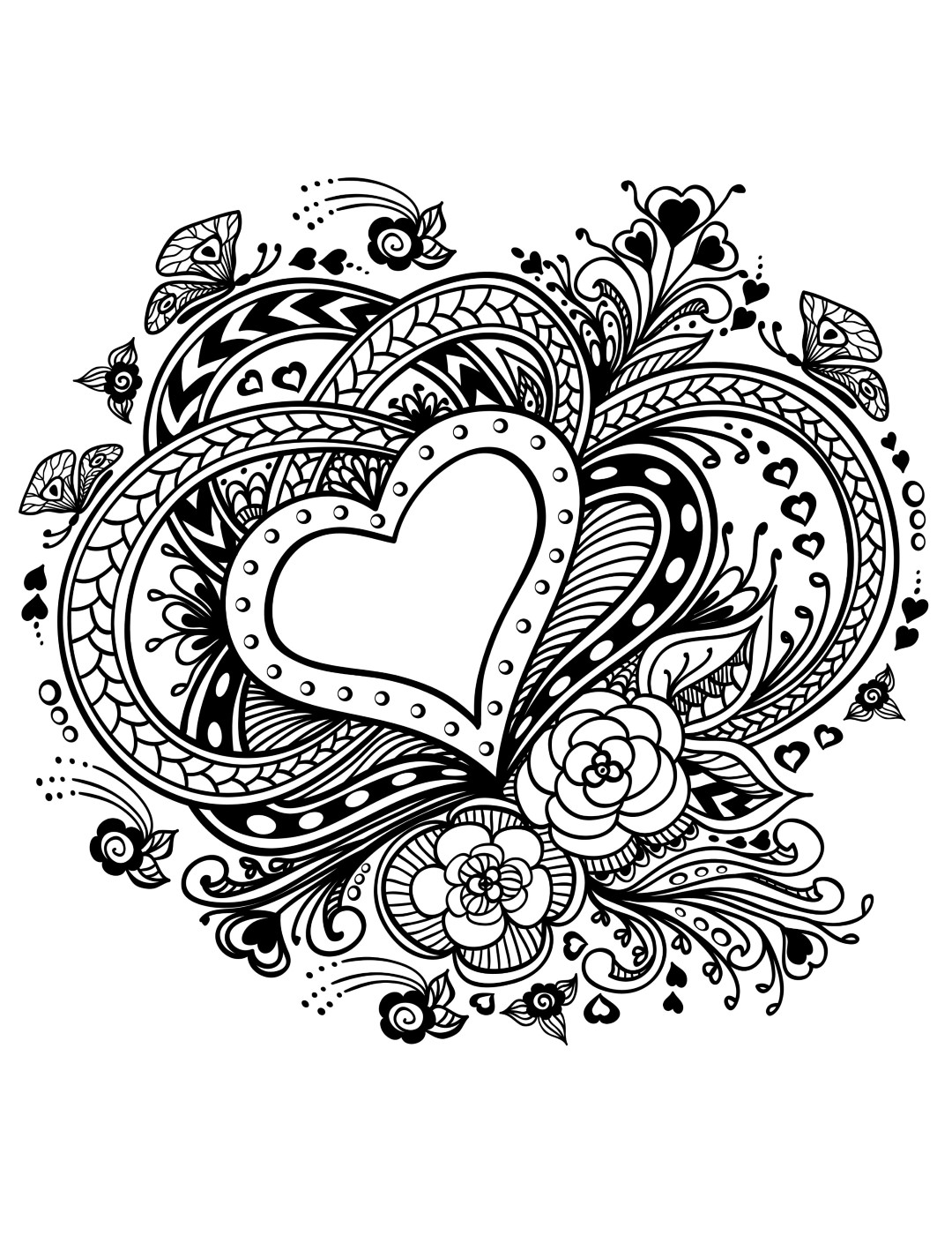 Heart Art Coloring Pages