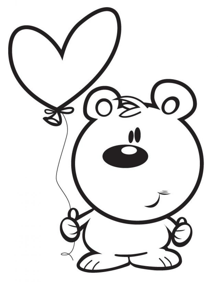 Heart Balloon Coloring Page