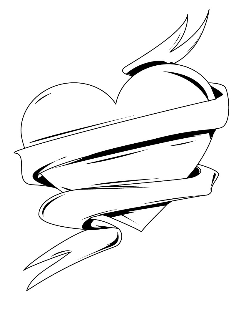 Heart Banner Coloring Pages