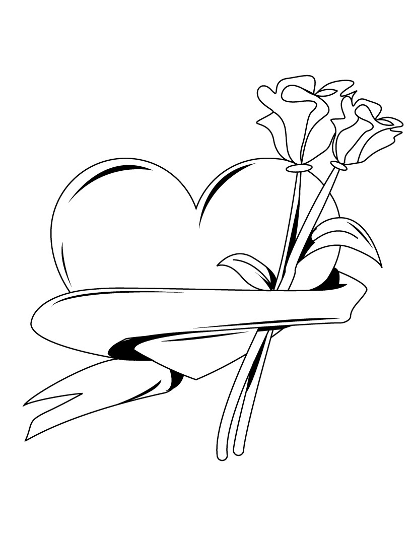 Heart Banner with Roses Coloring Pages