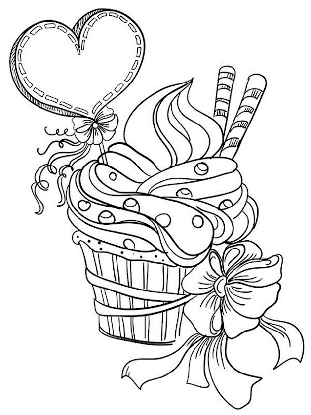 Heart Cupcake Coloring Page
