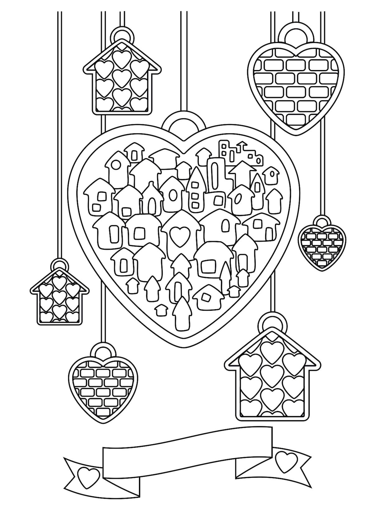 Heart Decor Coloring Pages