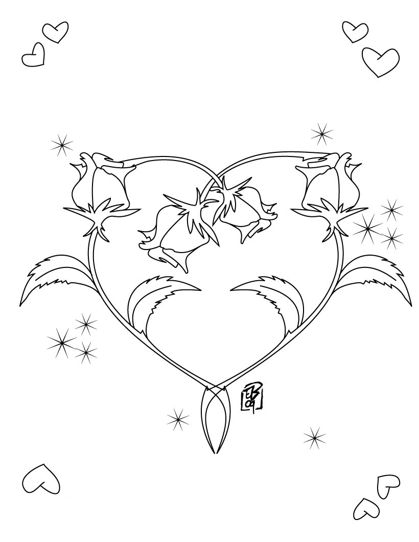 Heart Made of Roses Coloring Page