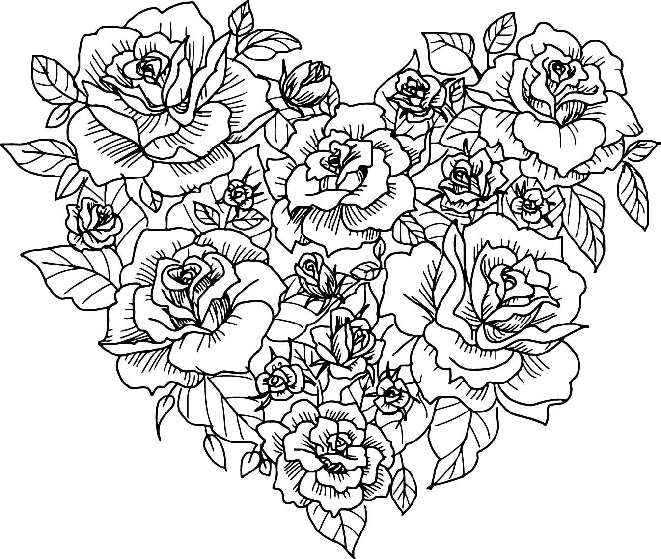 Heart Made of Roses to Color