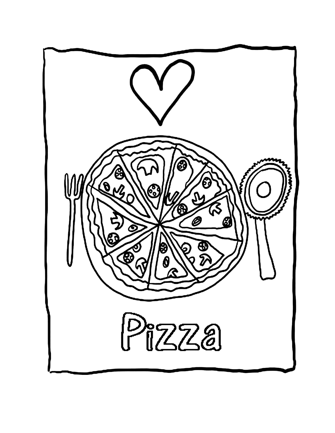 Heart Pizza Coloring Pages