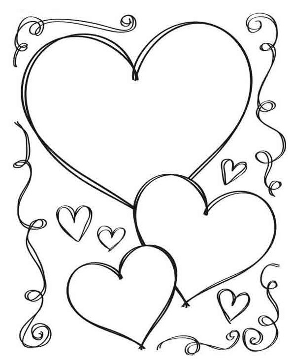 Heart Sketch Drawing to Color