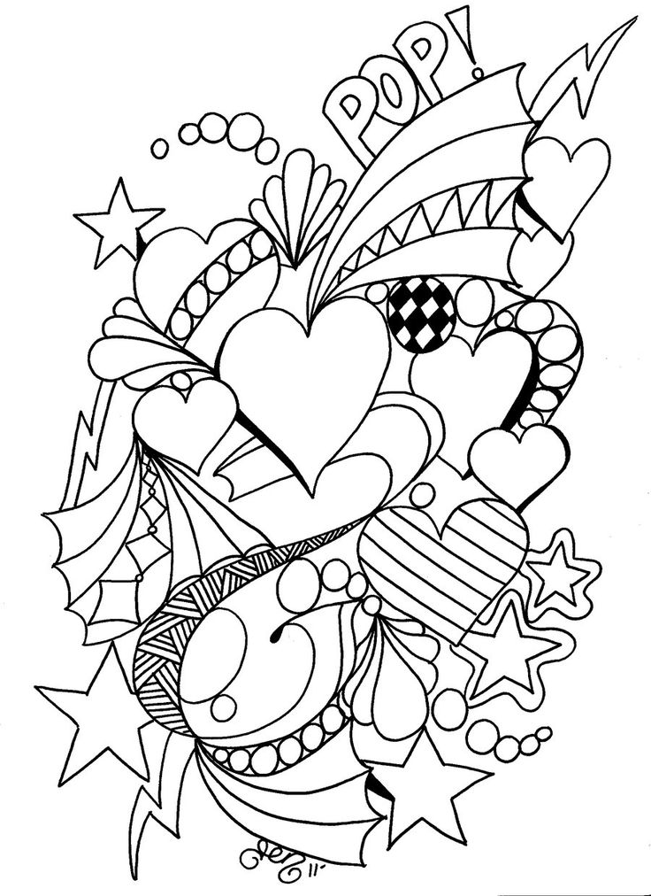 Hearts Art Picture to Color