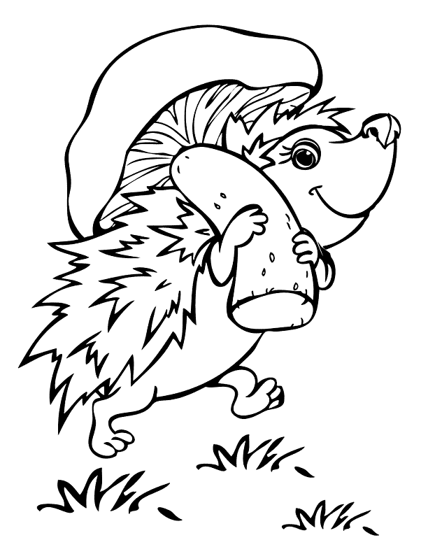 Hedgehog Carrying A Mushroom Coloring Page