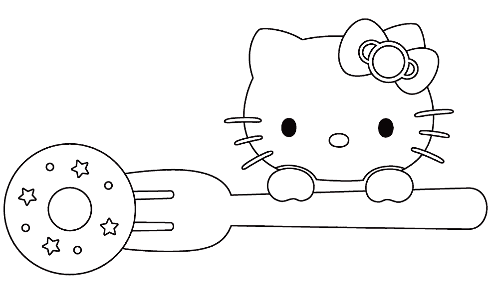 Hello Kitty Donut Coloring Page