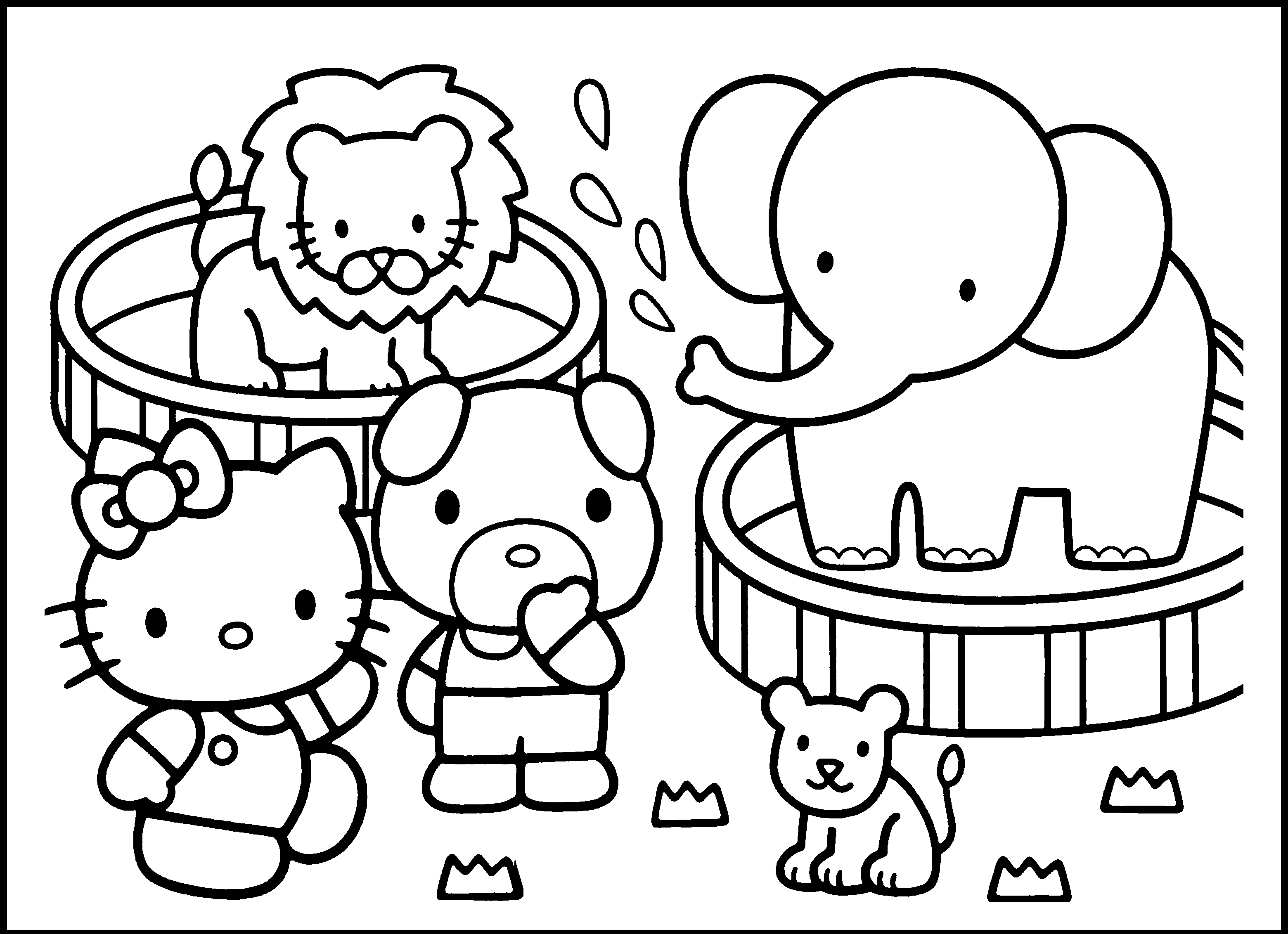Hello Kitty Circus Coloring Page for Kindergarten