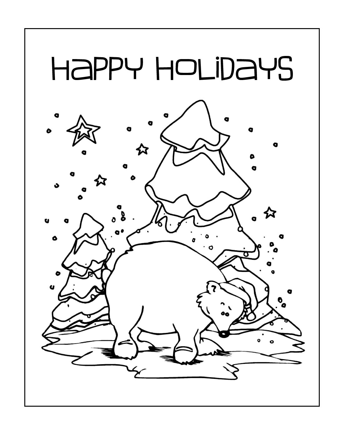 Holiday Bear Coloring Page