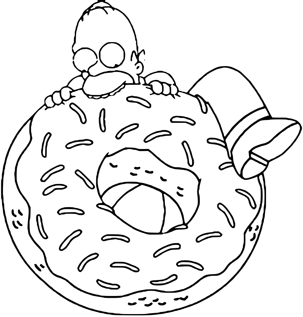 Homer Simpson Donut Coloring Page