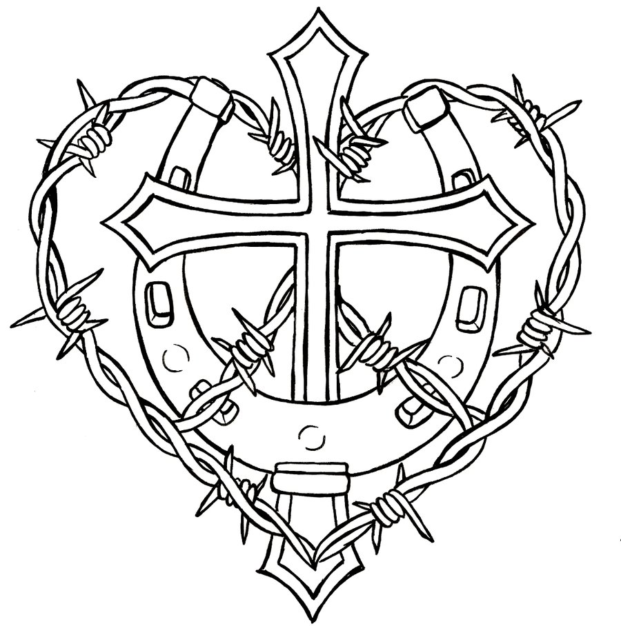 Horseshoe and Cross Coloring Page