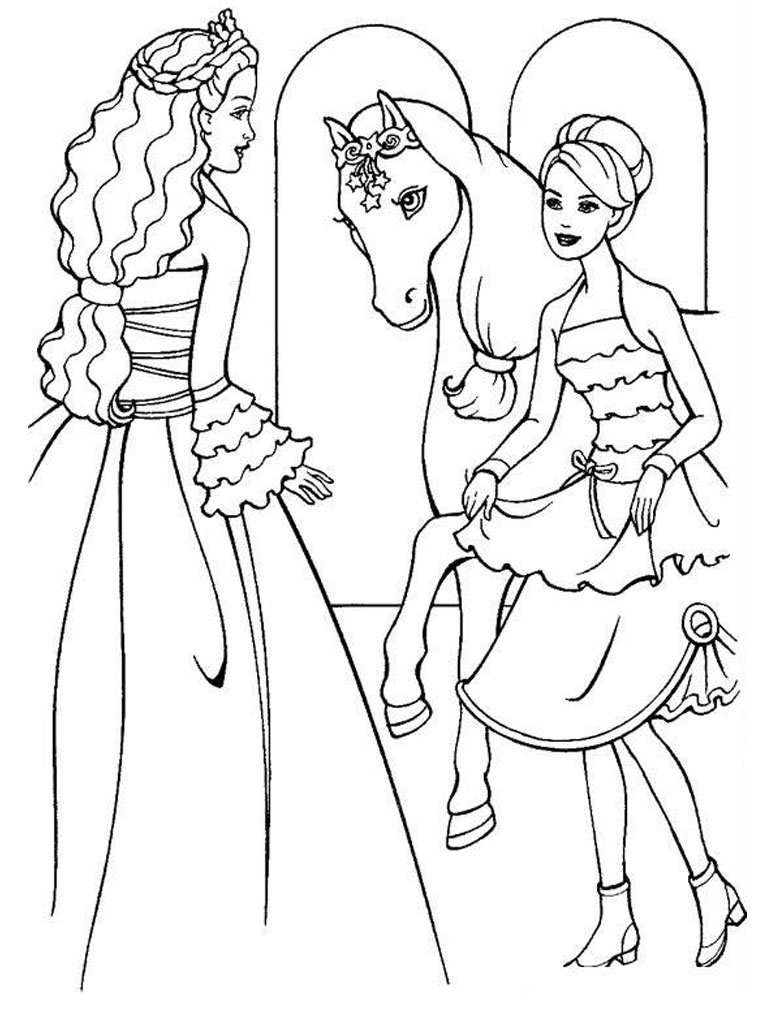 Horse Barbie Coloring Pages