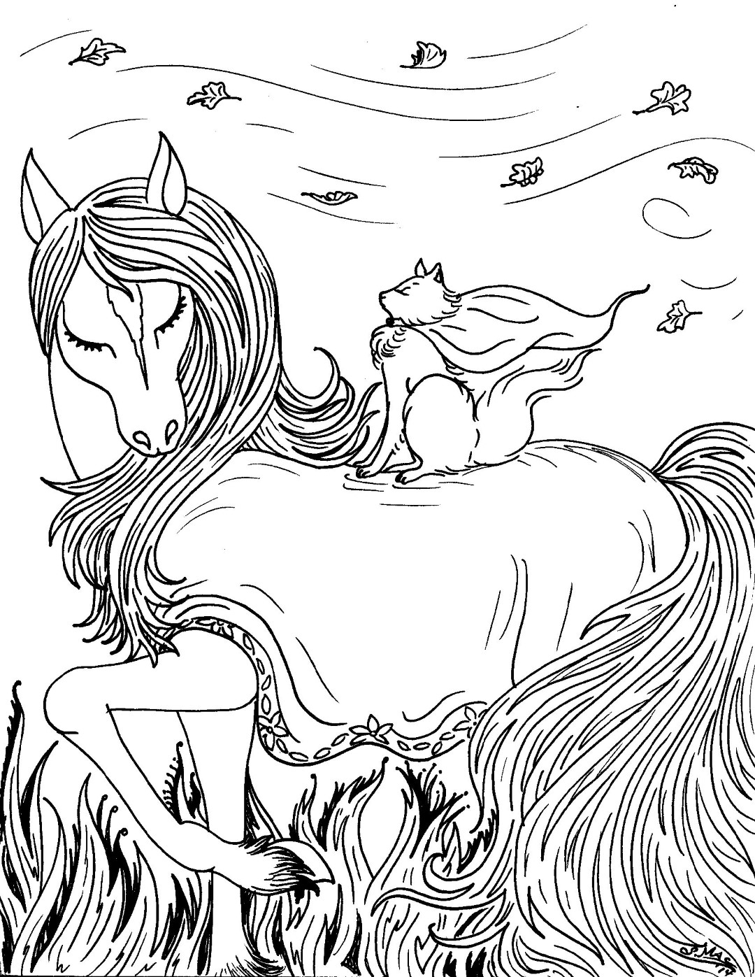 Horse and Cat Coloring Page