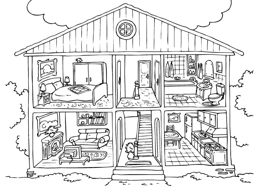 House Interior Coloring Page