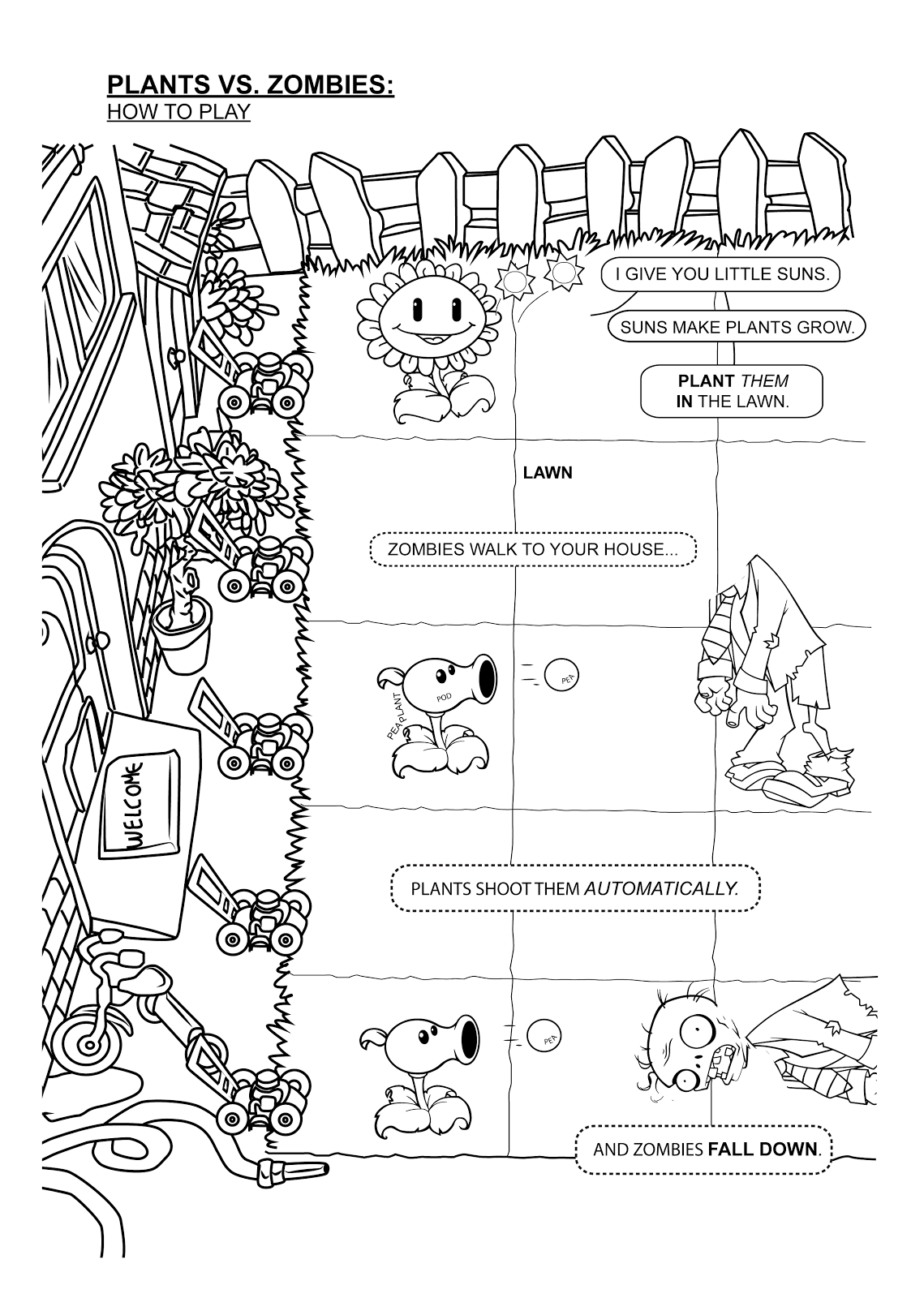 How to Play Plants vs Zombies Coloring Page