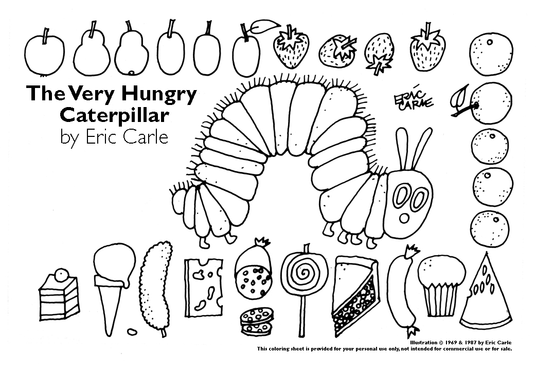 Hungry Caterpillar Coloring Page for Kindergarten