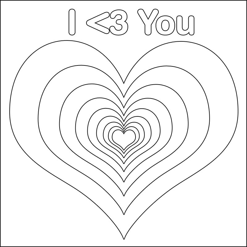 I Heart You Coloring Page