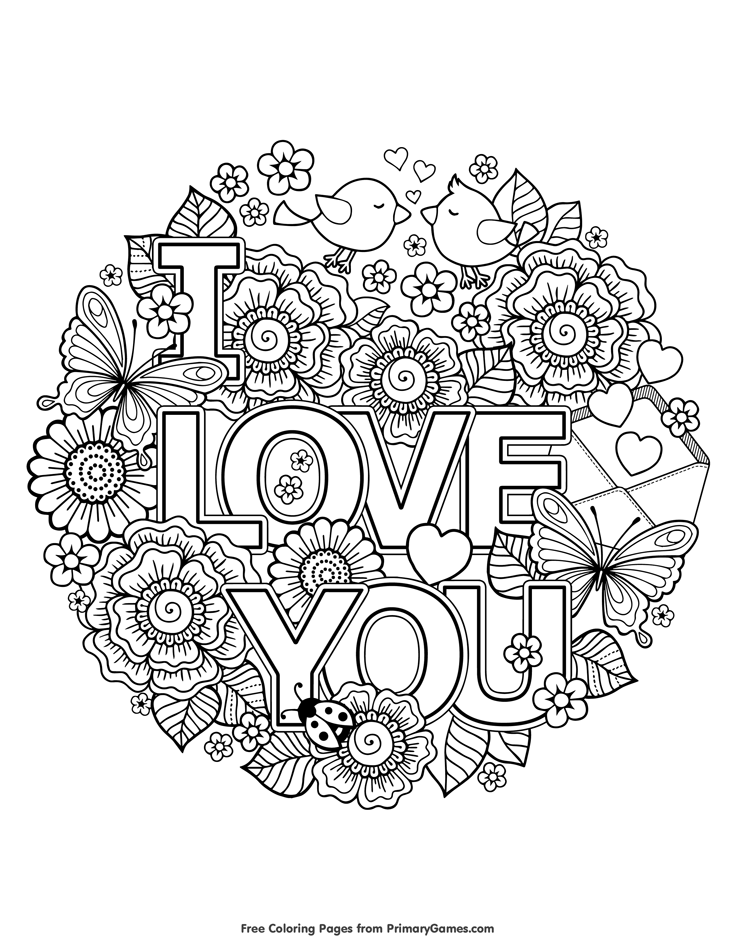 I Love You Coloring Page for Adults