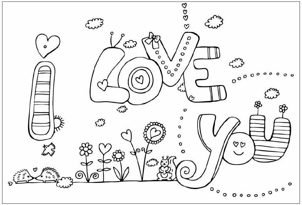 I Love You Coloring Page for Valentines