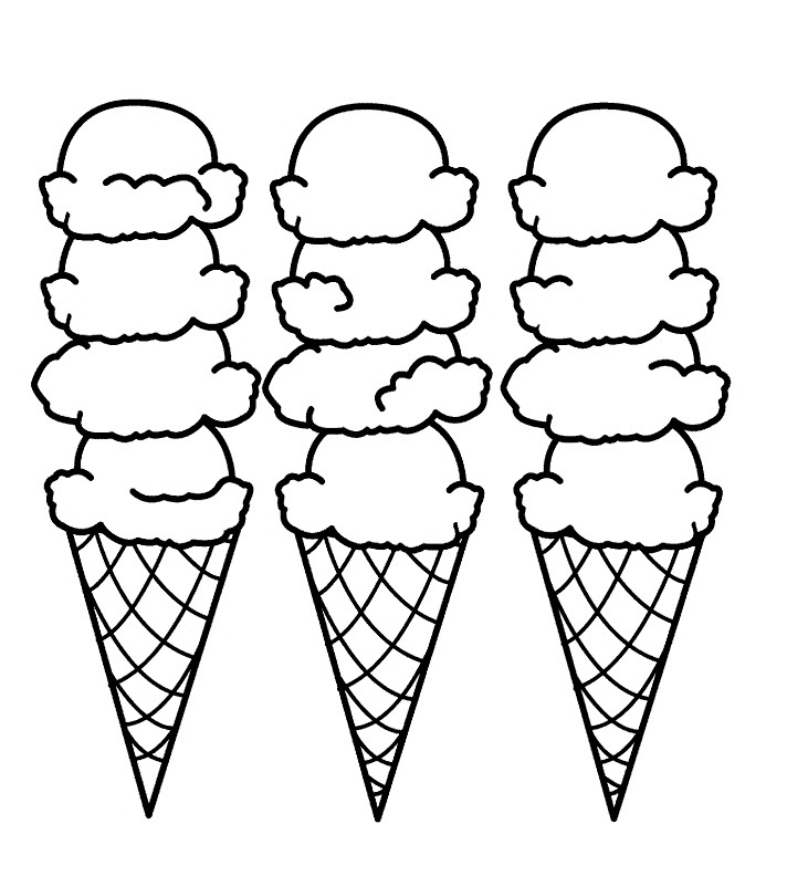 Ice Cream Cones Coloring Page