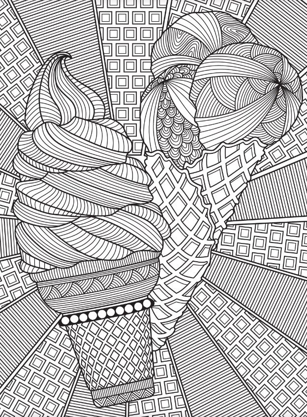 Ice Cream Cones Pattern Coloring Page