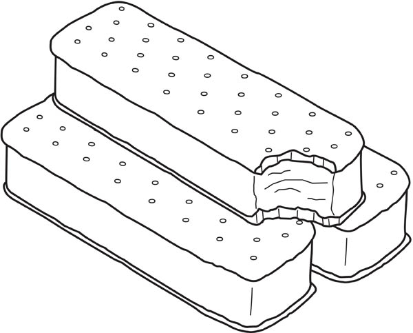 Ice Cream Sandwich Coloring Page