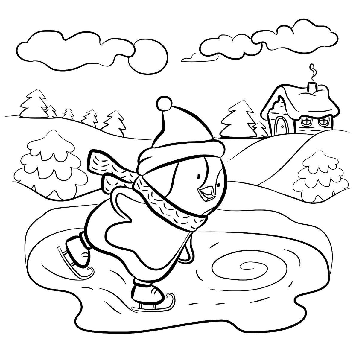 penguins ice skating coloring pages - photo#8