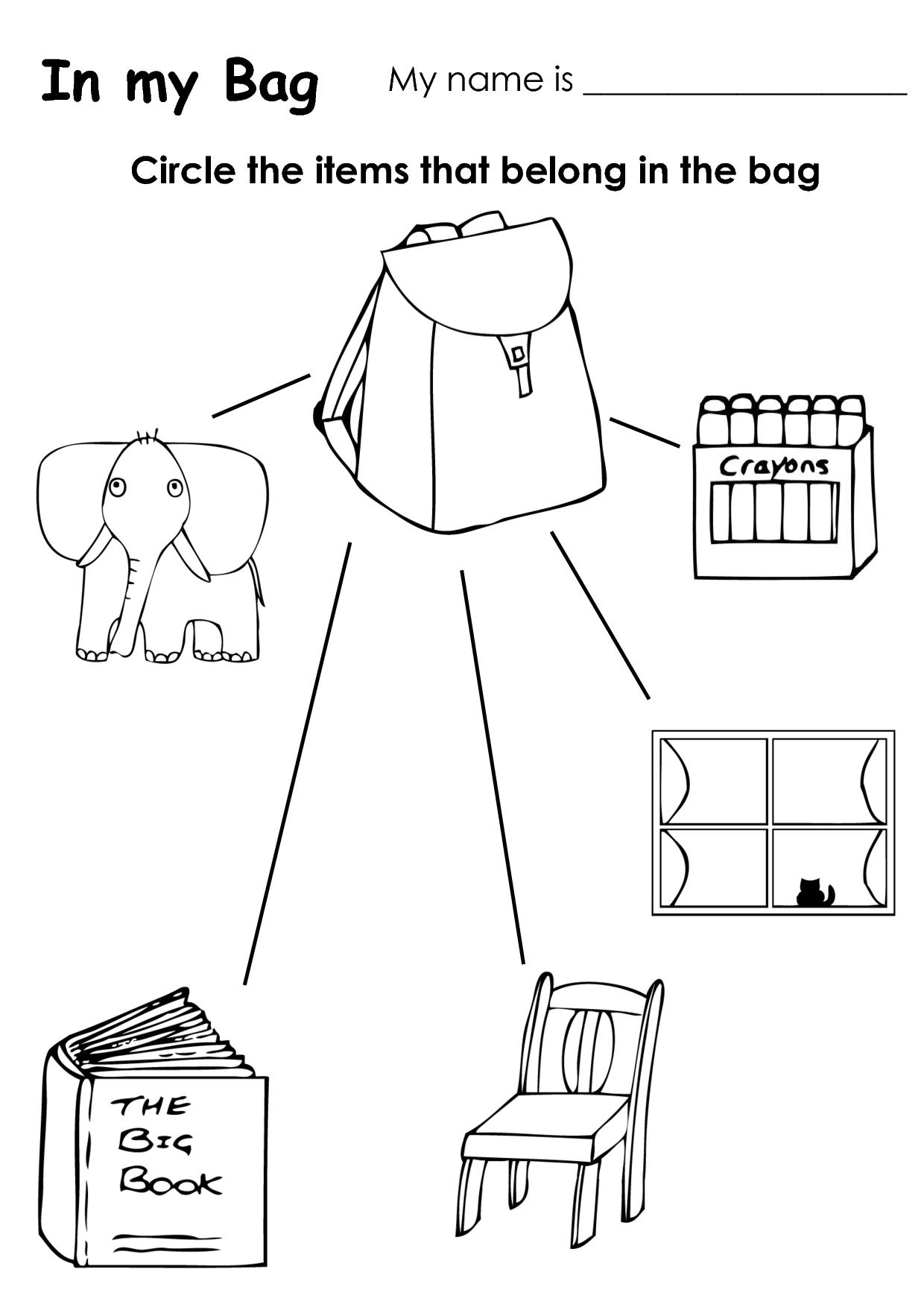 In the Bag Kindergarten Worksheet