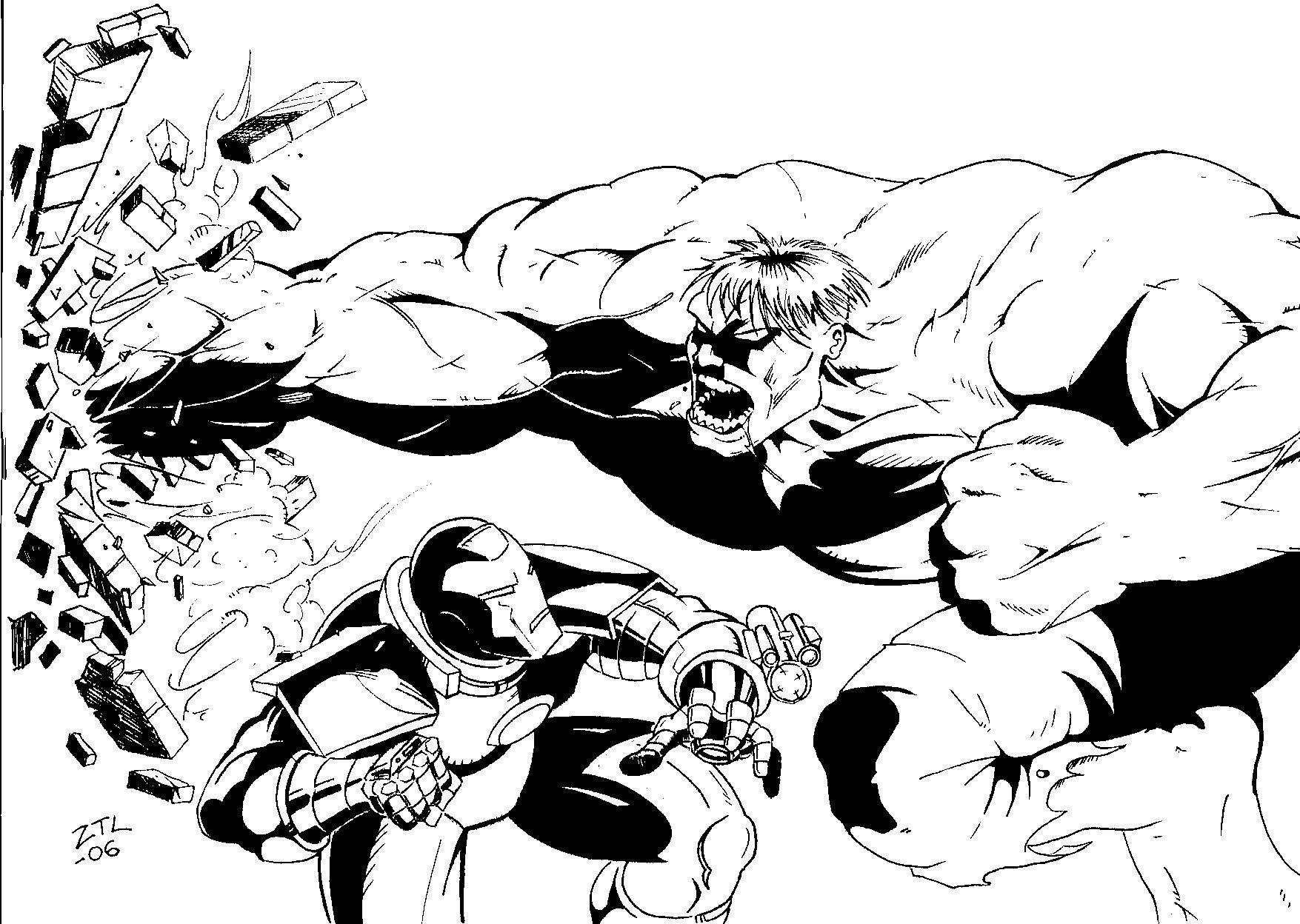 Iron Man vs Hulk Superhero Coloring Pages